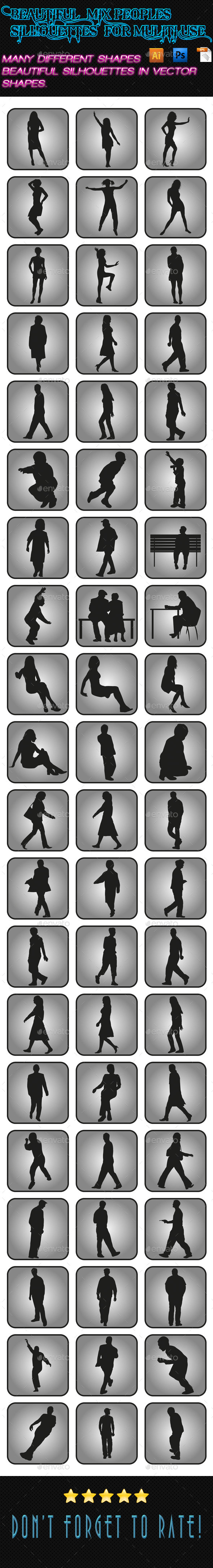 GraphicRiver Mix Peoples Silhouettes 01 9904303