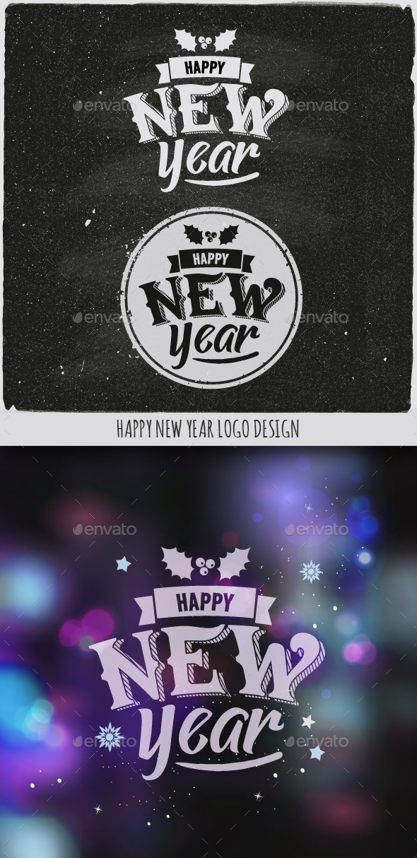GraphicRiver New Year Typographic Design Emblem 9861078