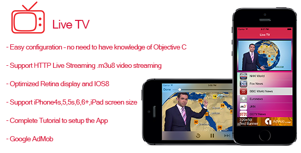 CodeCanyon Live TV- Streaming TV for iPhone and iPad 9788474