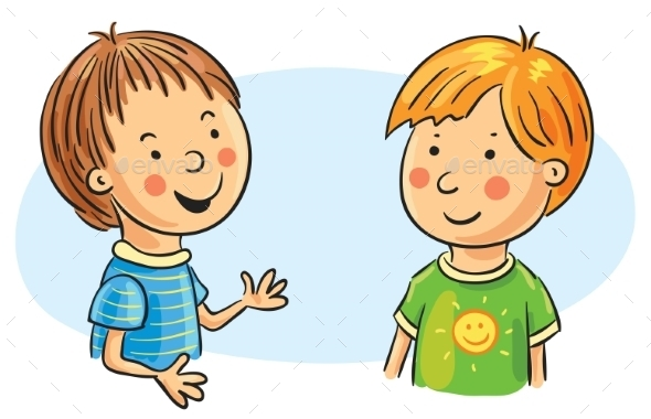 GraphicRiver Two Cartoon Boys Talking 9904875