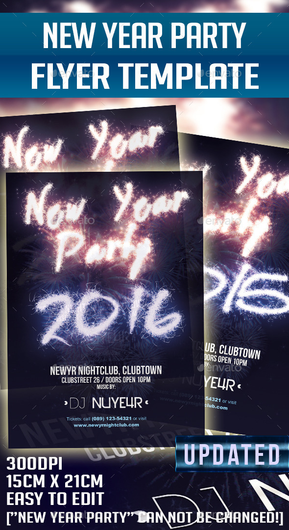 New Year 2015 2016 Party Flyer Template