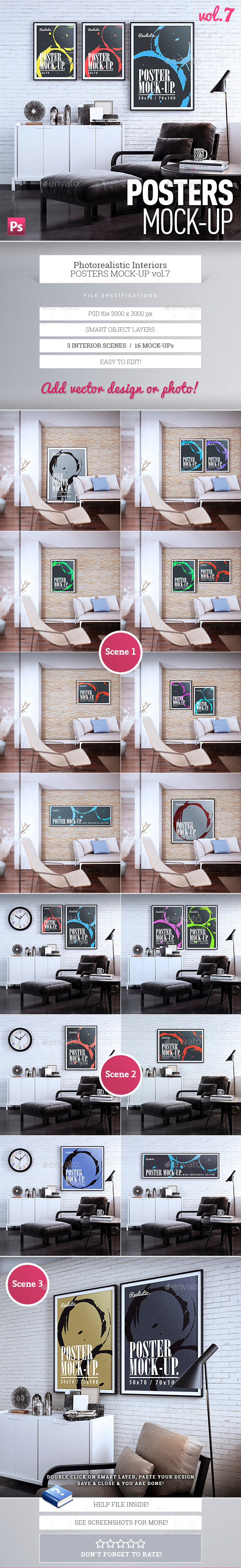 GraphicRiver Posters Mock-Up vol.7 9905411