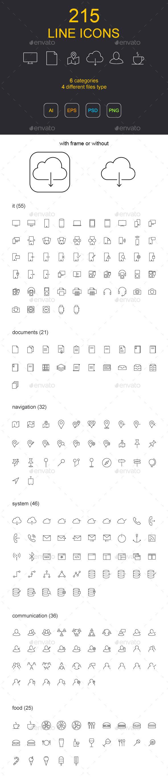 GraphicRiver 215 Line Icons 9865041