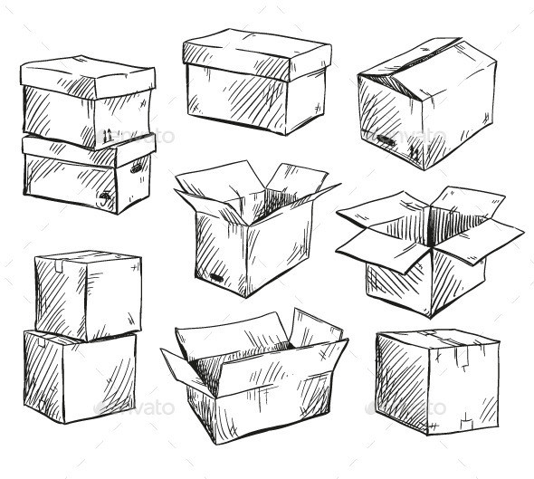 GraphicRiver Set of Doodle Cardboard Boxes 9905729