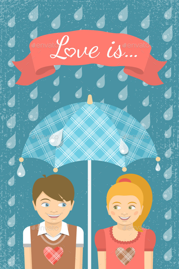Boy and Girl in Love Under Umbrella