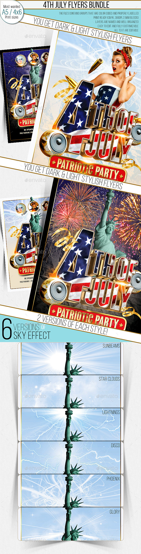 GraphicRiver 4th Of July Party Flyer Multistyle Bundle 9906603