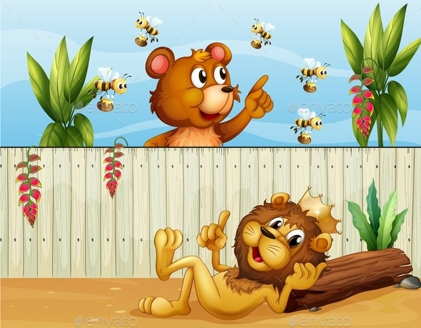 GraphicRiver Lion and Bear with Bees 9906851