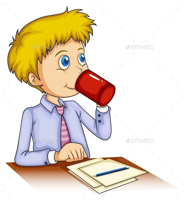 GraphicRiver Businessman Drinking Coffee 9906853