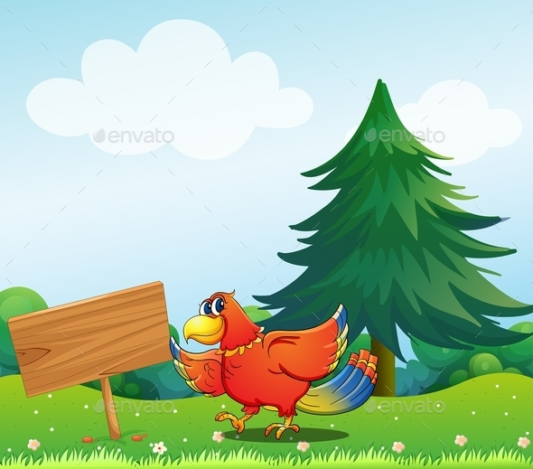 GraphicRiver Chicken Beside an Empty Wooden Signboard 9907016
