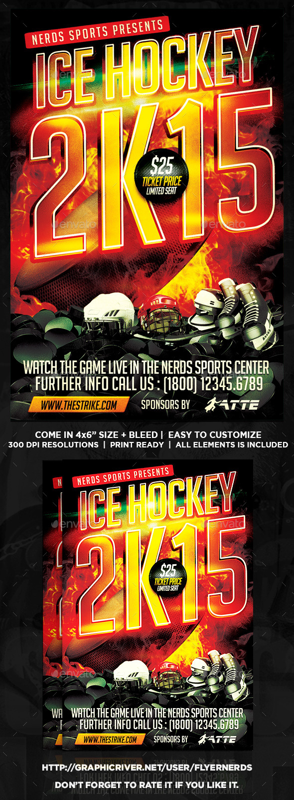 GraphicRiver Ice Hockey 2K15 Championships Flyer 9907031