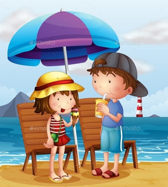 GraphicRiver Kids at the Beach 9907651