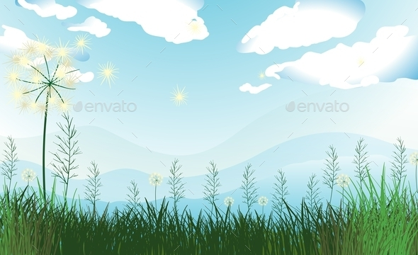 GraphicRiver Tall Grasses Under the Blue Sky 9907766