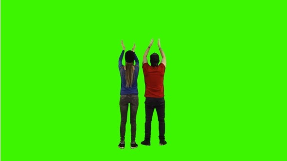 Football Fans on Green Screen