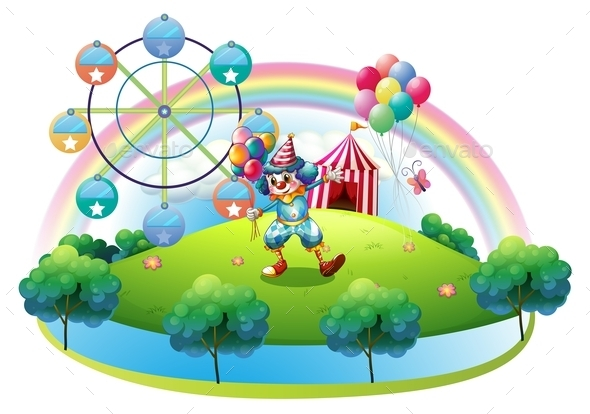 GraphicRiver Clown with Balloons at the Carnival 9907819