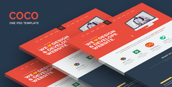 ThemeForest Coco Flat One Page PSD Template 9907822