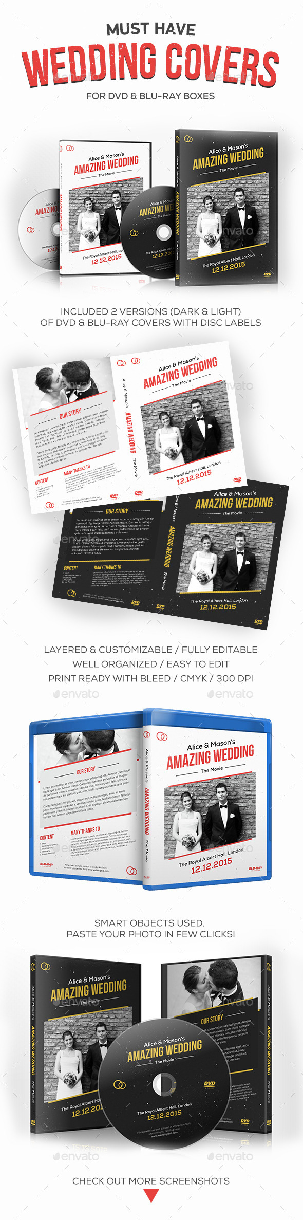 GraphicRiver Wedding DVD Blu-ray Covers with Disc Labels 9878068