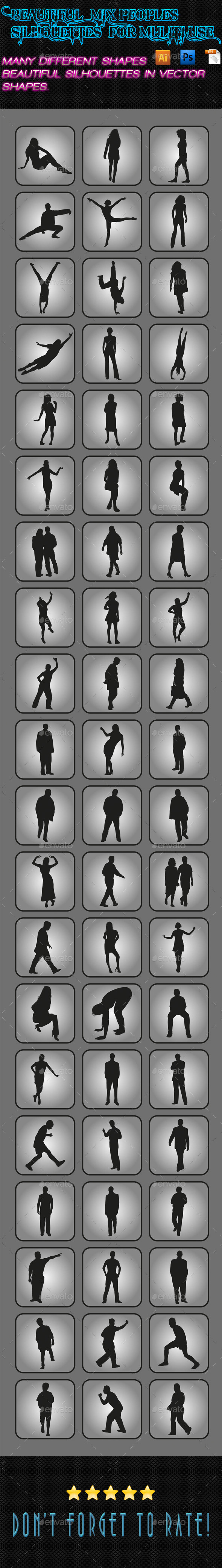GraphicRiver Mix Peoples Silhouettes 02 9908023