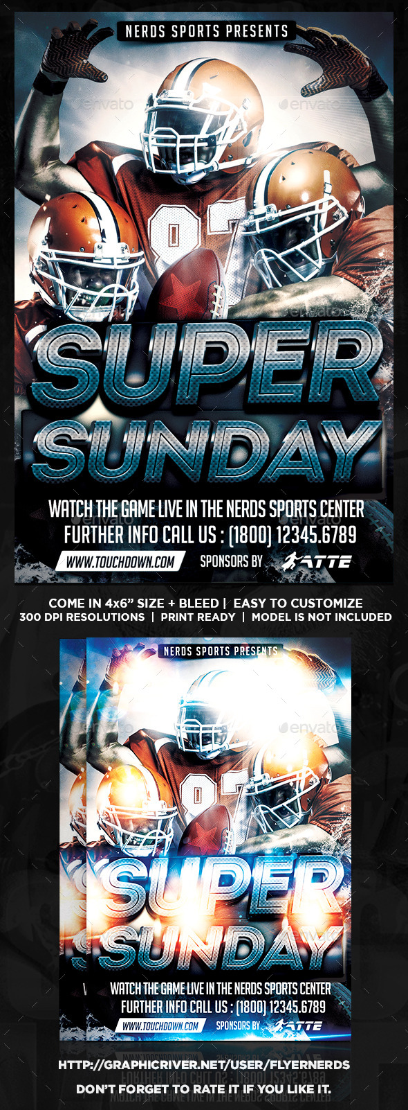 GraphicRiver Super Sunday Football Night Sports Flyer 9879722