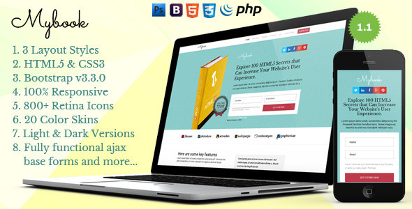 Mybook - Responsive Bootstrap eBook Landing Page