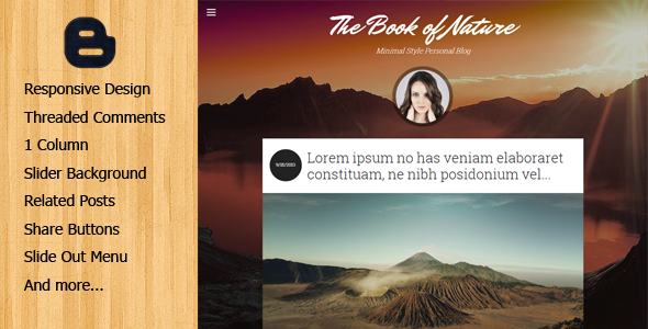 ThemeForest The Book of Nature Responsive Blogger Template 9908304