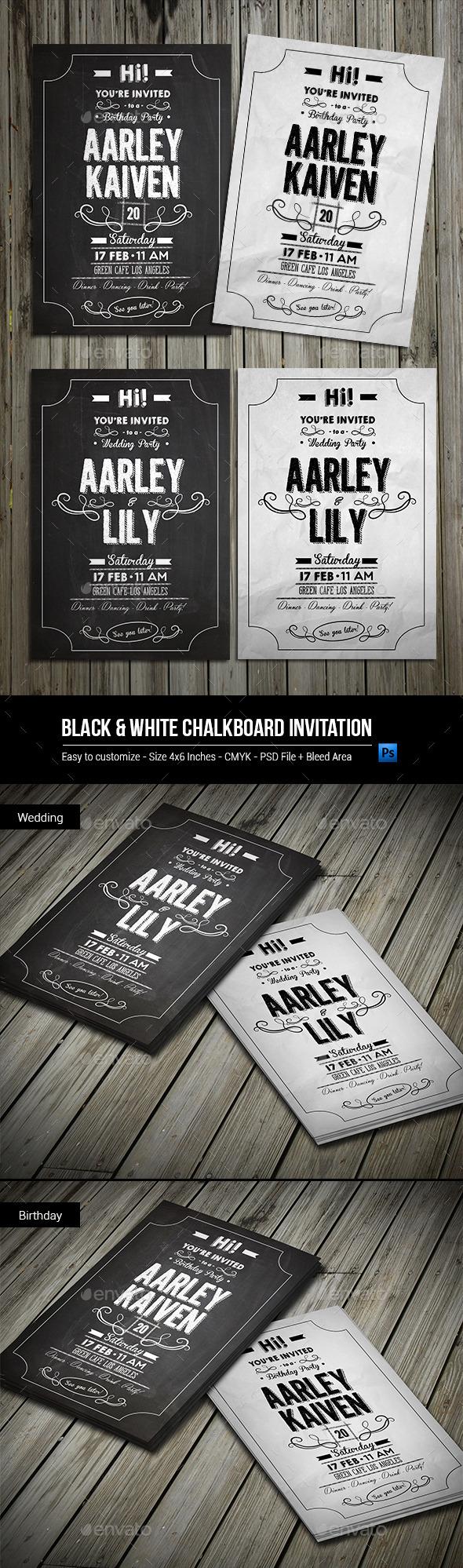 GraphicRiver Black & White Chalkboard Invitation 9908378