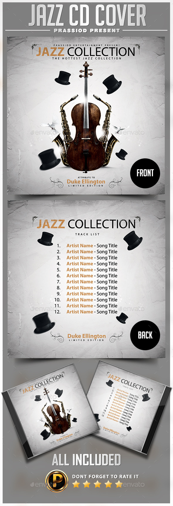 GraphicRiver Jazz CD Cover Template 9908393