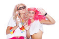 Funny girls in colored wigs and glasses play the ape - PhotoDune Item for Sale