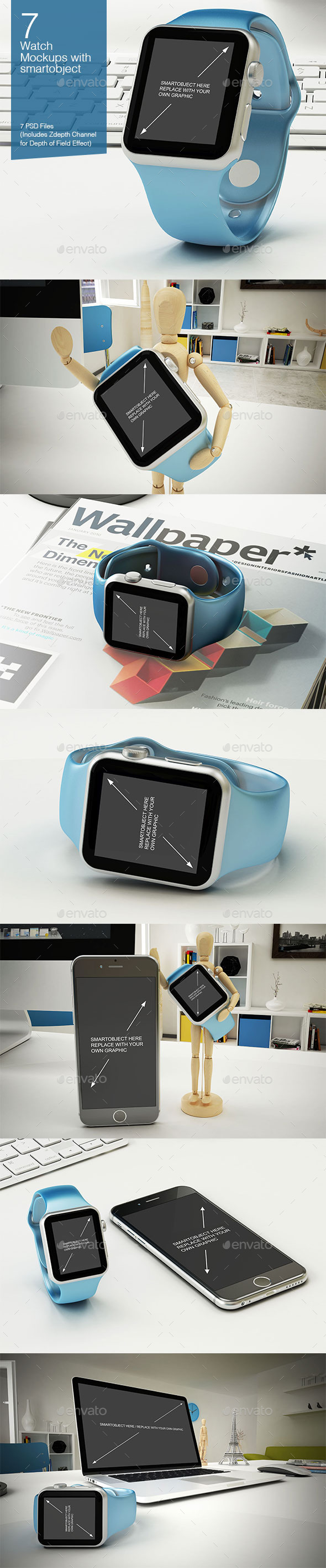 GraphicRiver Watch Mockup 7 Poses 9909622