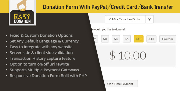 EasyDonation Form PayPal Credit Card Bank Transfer