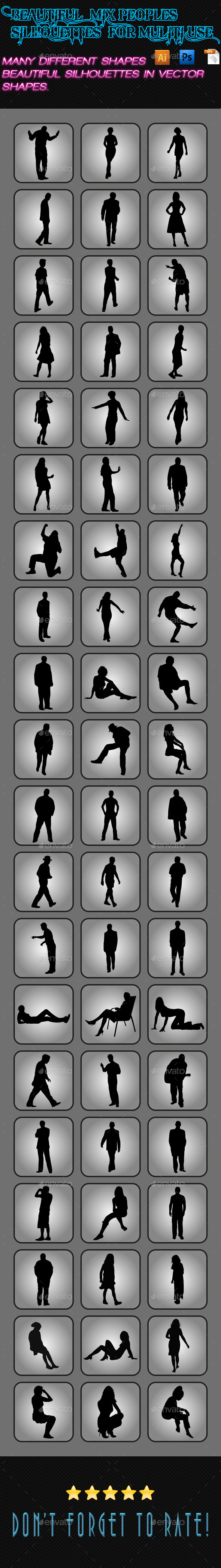 GraphicRiver Mix Peoples Silhouettes 03 9909737