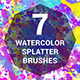 7 Watercolor Splatter Brushes - GraphicRiver Item for Sale