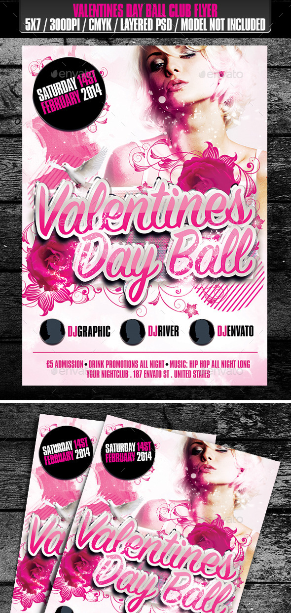 GraphicRiver Valentines Day Ball Club Flyer 9909938