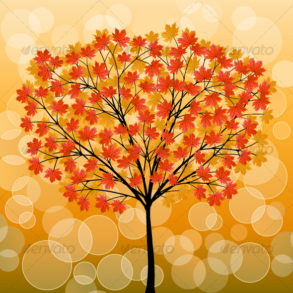 Abstract background with a autumn tree - Seasons Nature