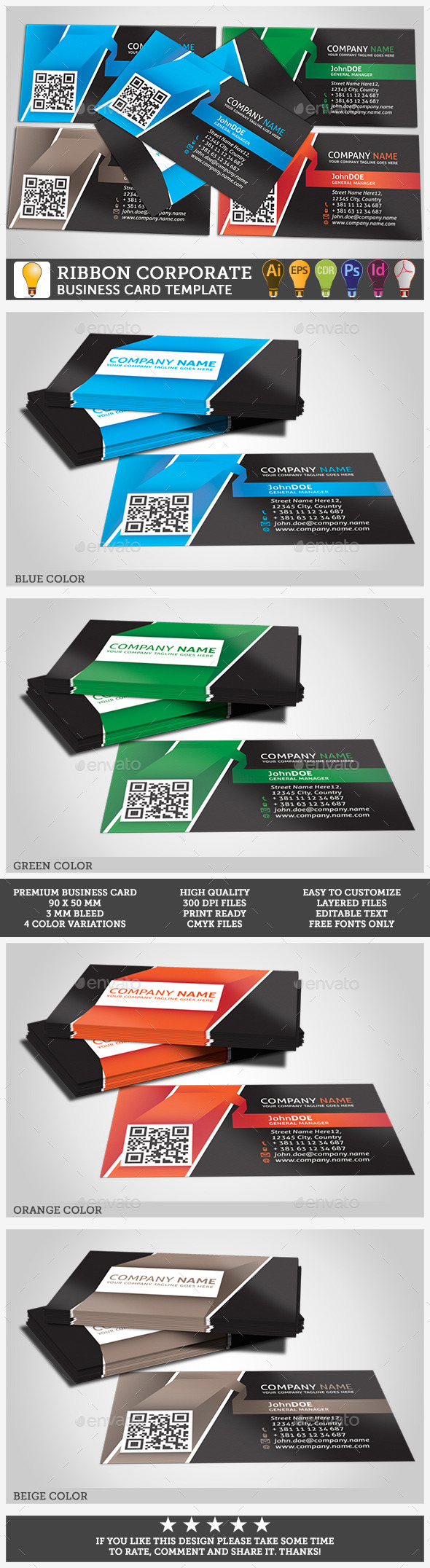 Corporate Business Card Ribbon Template - Corporate Business Cards
