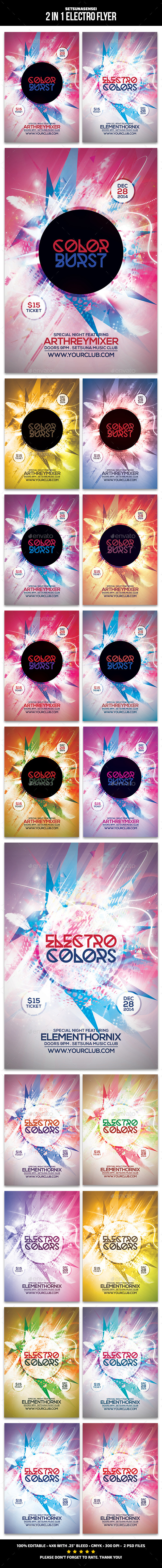 GraphicRiver 2 in 1 Electro Flyer 9896341