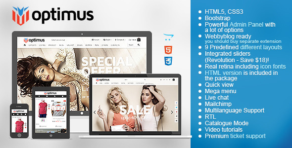 ThemeForest Optimus Flexible Responsive OpenCart Theme 9910757