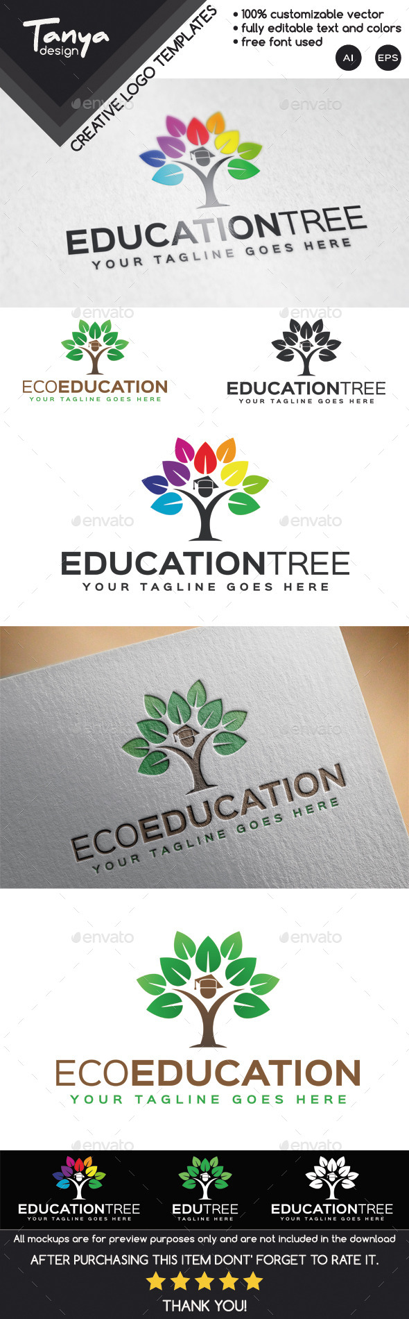 GraphicRiver Education Tree Logo Template 9910811
