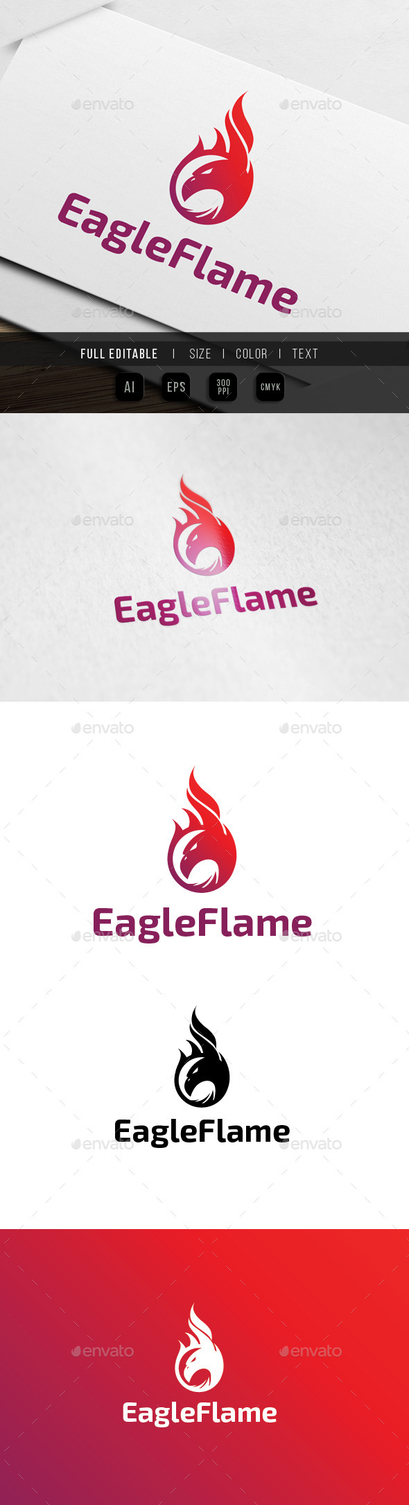 Eagle Flame Fire Logo
