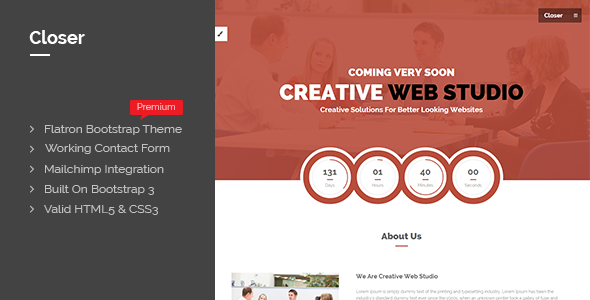 Closer Bootstrap 3 Coming Soon Page