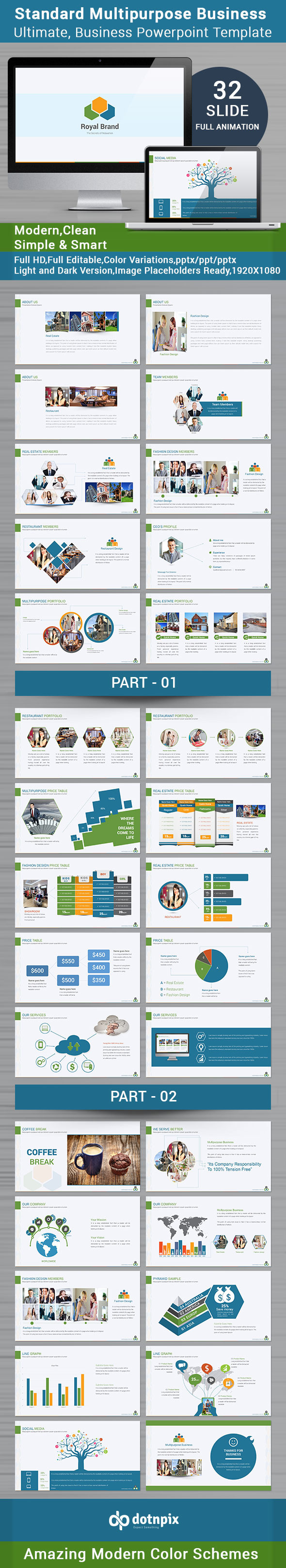 GraphicRiver Standard Multipurpose Business Powerpoint Template 9911490