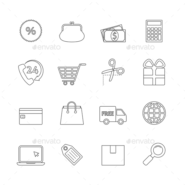GraphicRiver Shopping Thin Line Icons 9911897