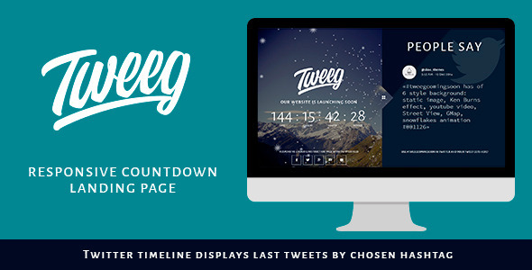 ThemeForest Tweeg Responsive Countdown Landing Page 9872898