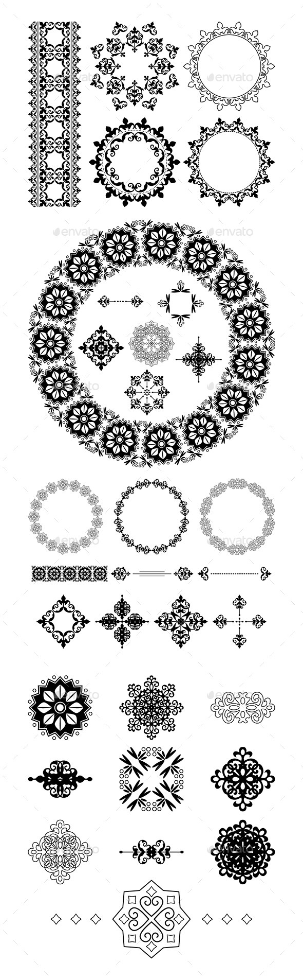 GraphicRiver Vector Frames and Vintage Elements 9912728