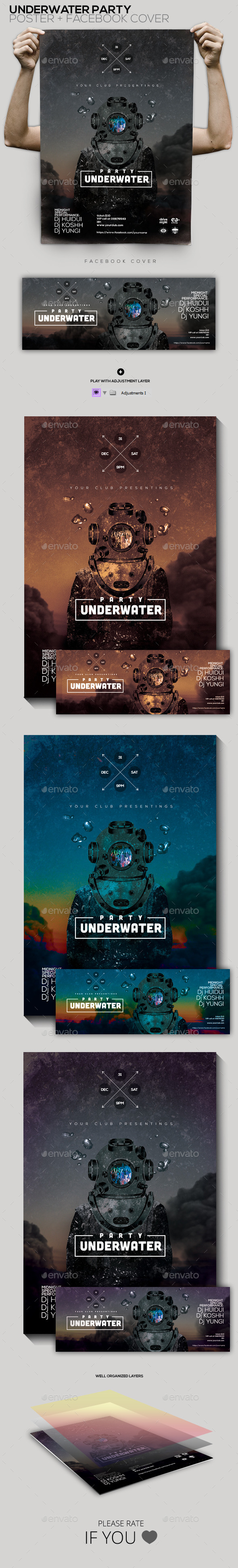GraphicRiver Party Underwater Poster Facebook Cover 9912732