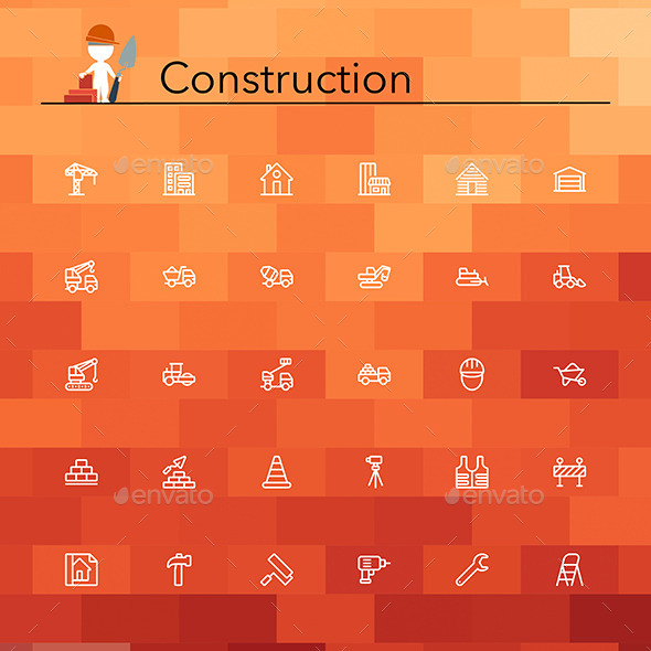 GraphicRiver Construction Line Icons 9912749