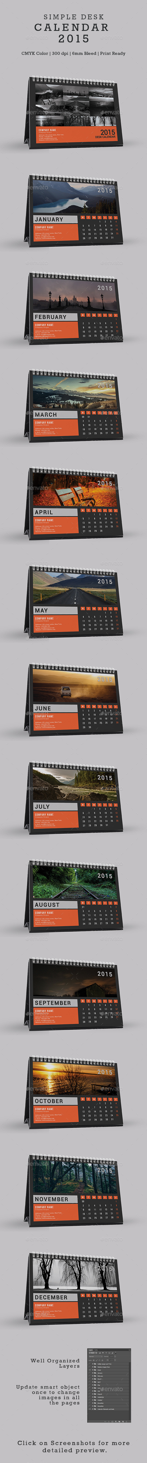 GraphicRiver Simple Desk Calendar 2015 9902552