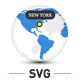 Animated SVG Globe with Markers and Logos