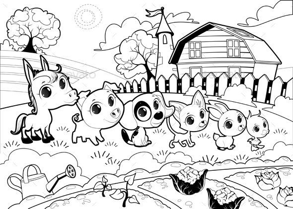 GraphicRiver Farm Animals in a Garden 9912920