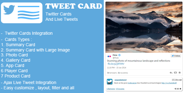 This Plugin allow you to configure Twitter card with your site. and also embed Live tweet with Ajax loading with your site. We have include following types of t