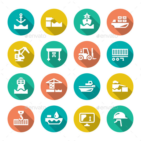 GraphicRiver Set Flat Icons of Seaport 9913213